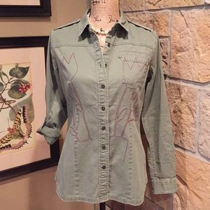 Quicksilver military style shirt NWT S